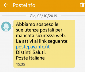 messaggio di phishing